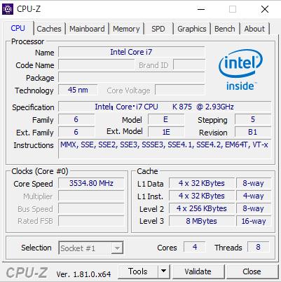 CPUをオーバークロック|intel Core i7 K875